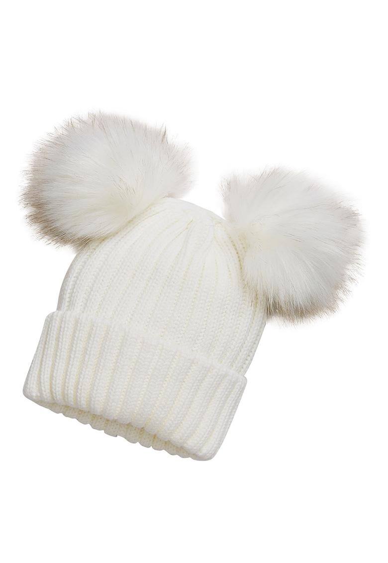 Caciula tricotata cu ciucuri de blana sintetica