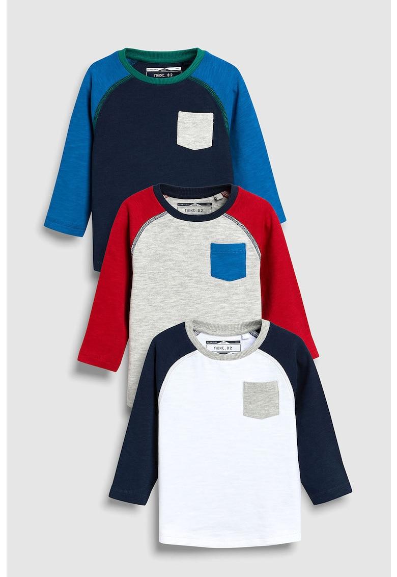 NEXT Set de bluze cu maneci raglan – 3 piese