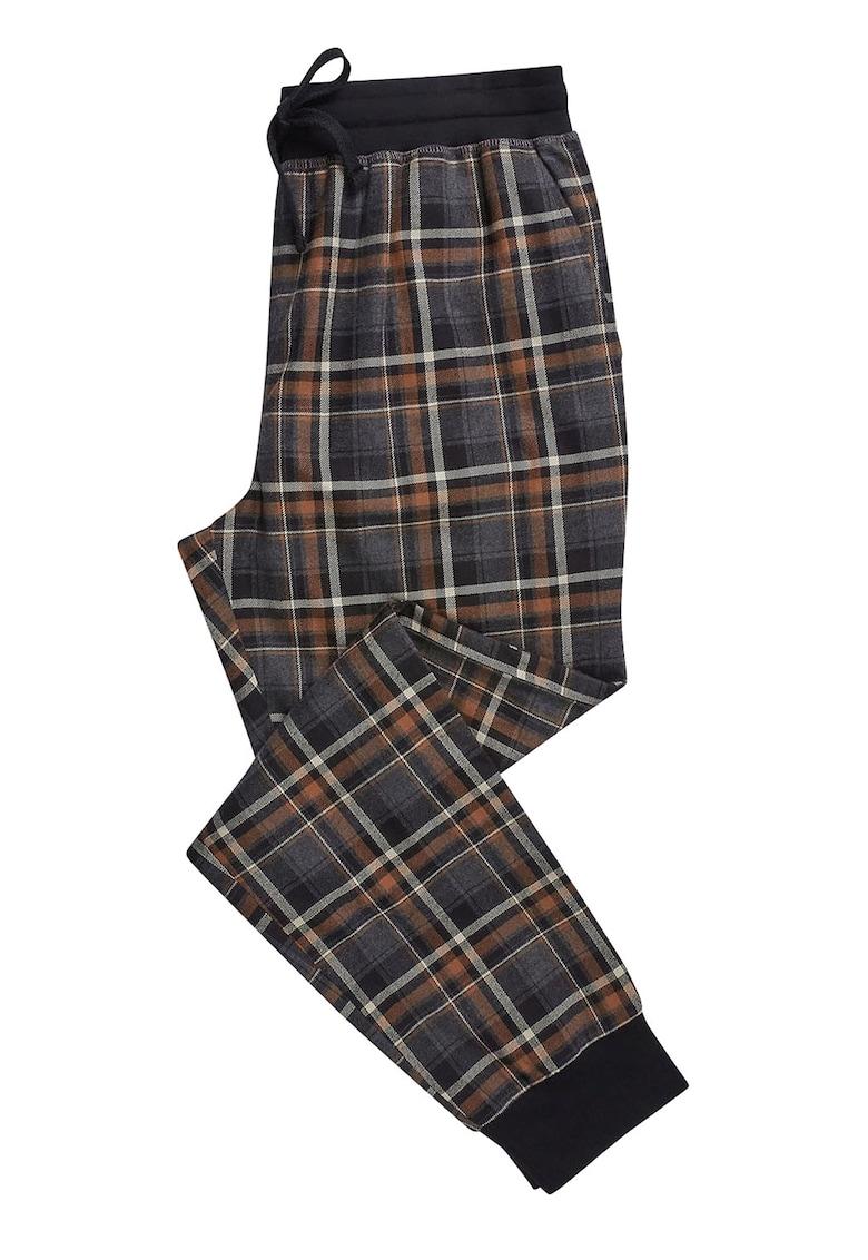 Pantaloni de pijama cu model in carouri si snur