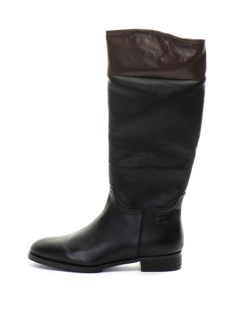Cizme mid-calf de piele ecologica - cu garnituri contrastante Joyce