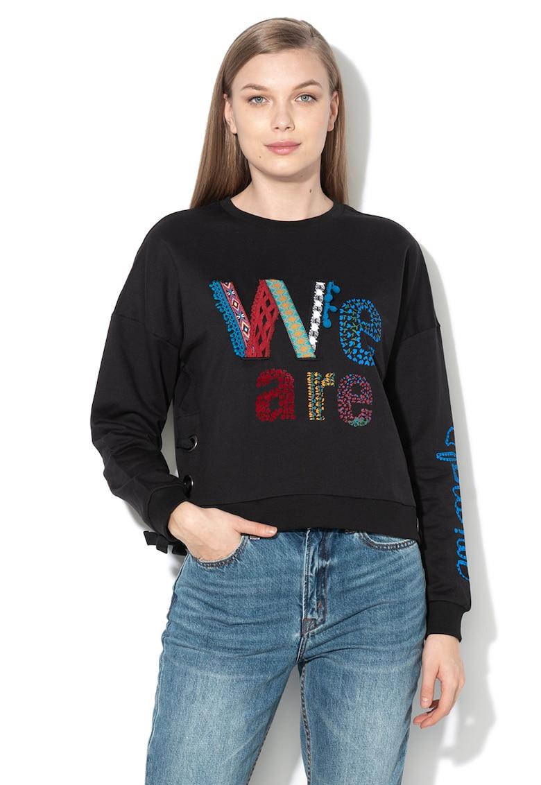 Bluza sport cu imprimeu si detalii cu snur Vivian