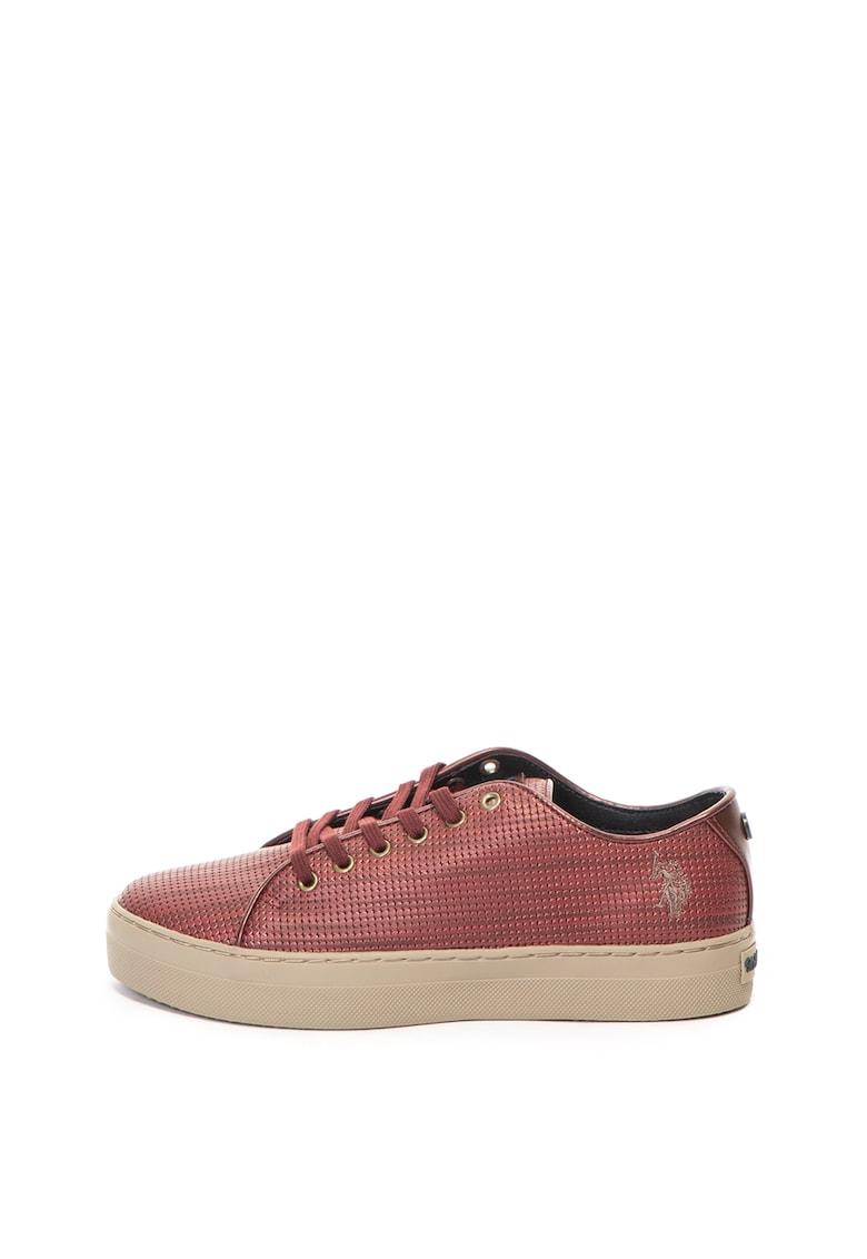 US Polo Assn Pantofi sport de piele ecologica – cu talpa flatform Violet