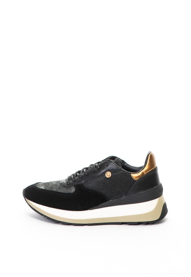 US Polo Assn Pantofi sport de piele intoarsa si material textil – cu particule stralucitoare Valery
