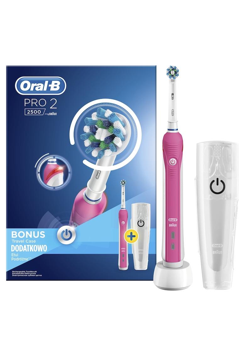 Oral-B Periuta de dinti electrica  Pro 2 2500P - 40000 pulsatii/min - 8800 oscilatii/min - Curatare 3D - 2 Programe - 1 capat - Trusa de calatorie - Roz