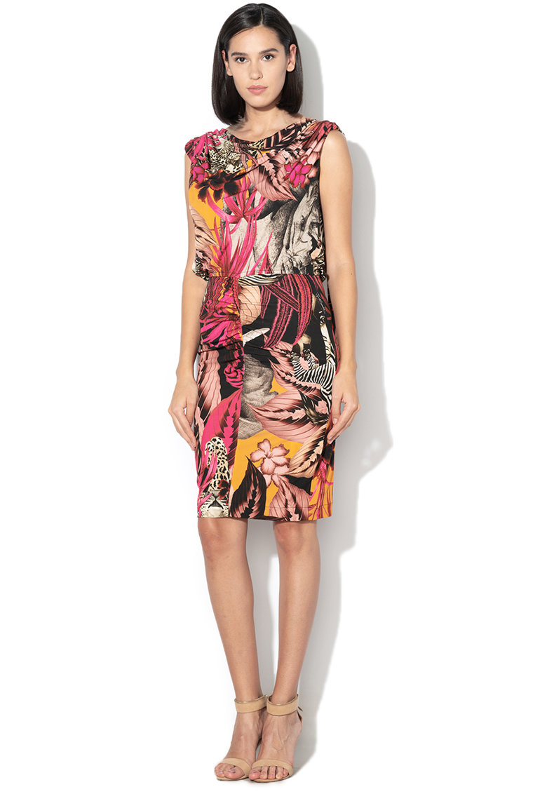 Rochie cu imprimeu tropicat si spate decupat