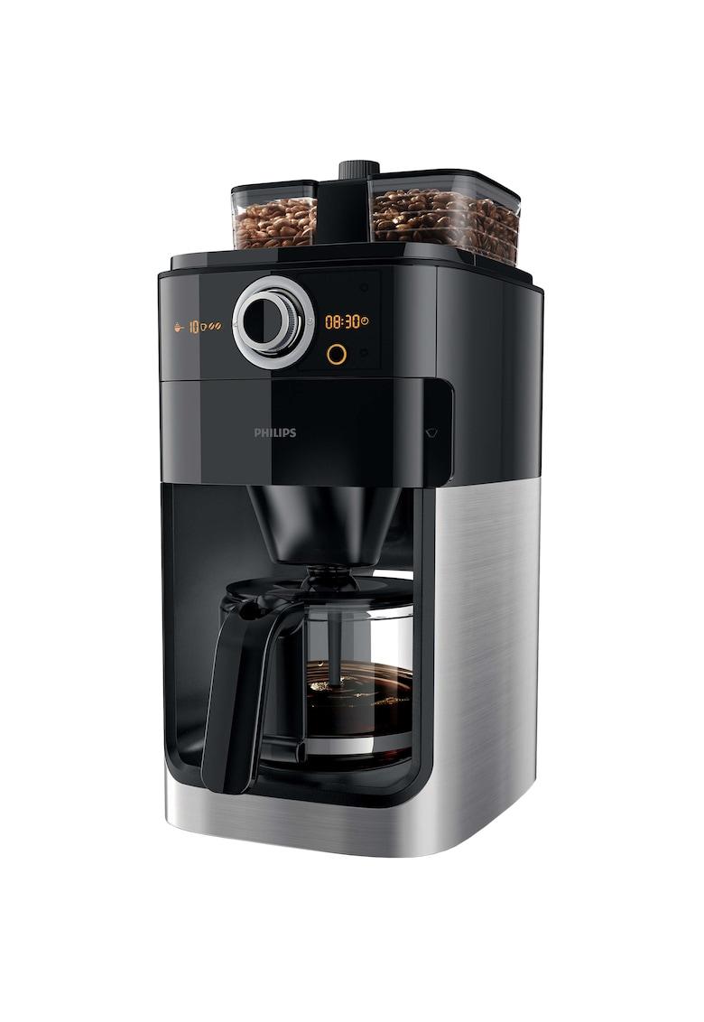 Philips Cafetiera  Grind & Brew HD7769/00 - 1000 W - vas de sticla - Rasnita de cafea integrata - cronometru - Negru/Metalic