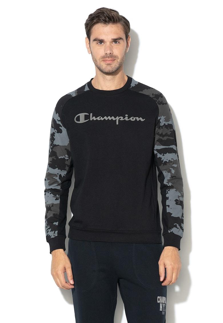 Champion Bluza sport cu imprimeu camuflaj si logo