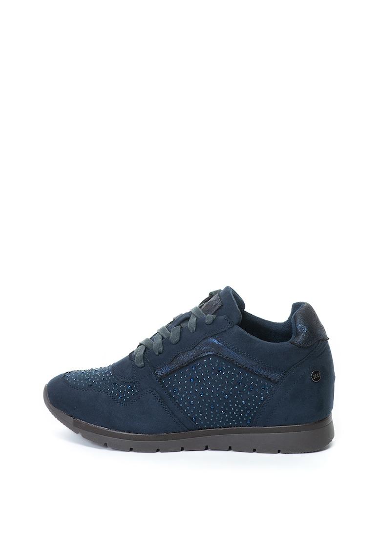 Pantofi sport cu talpa wedge ascunsa si aplicatii cu strasuri Xti