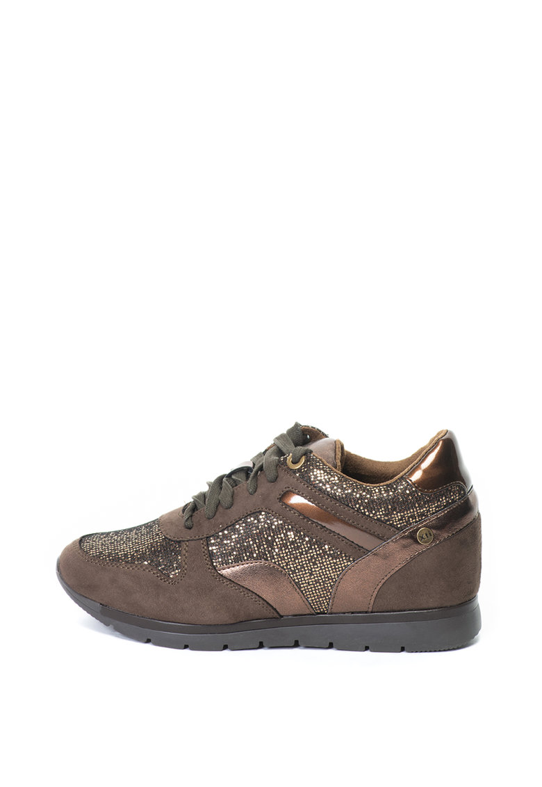 Pantofi sport cu talpa wedge ascunsa si detalii stralucitoare