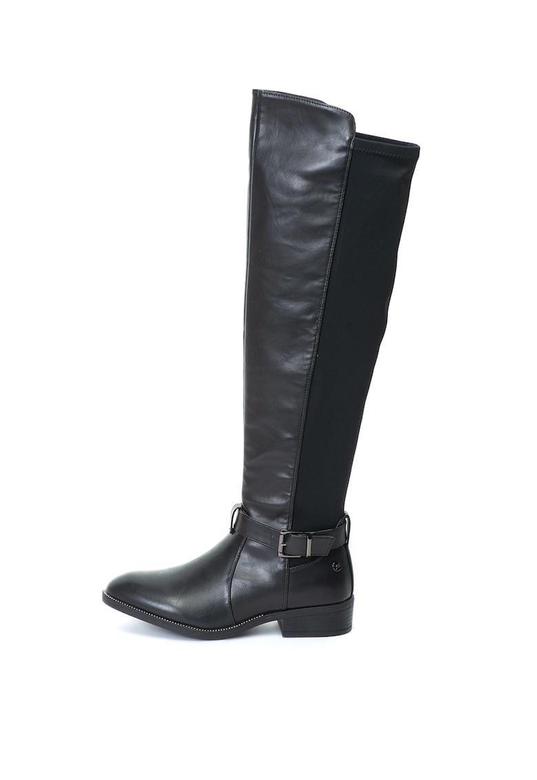 Cizme lungi pana la genunchi de piele ecologica - cu insertii din material textil de la Xti