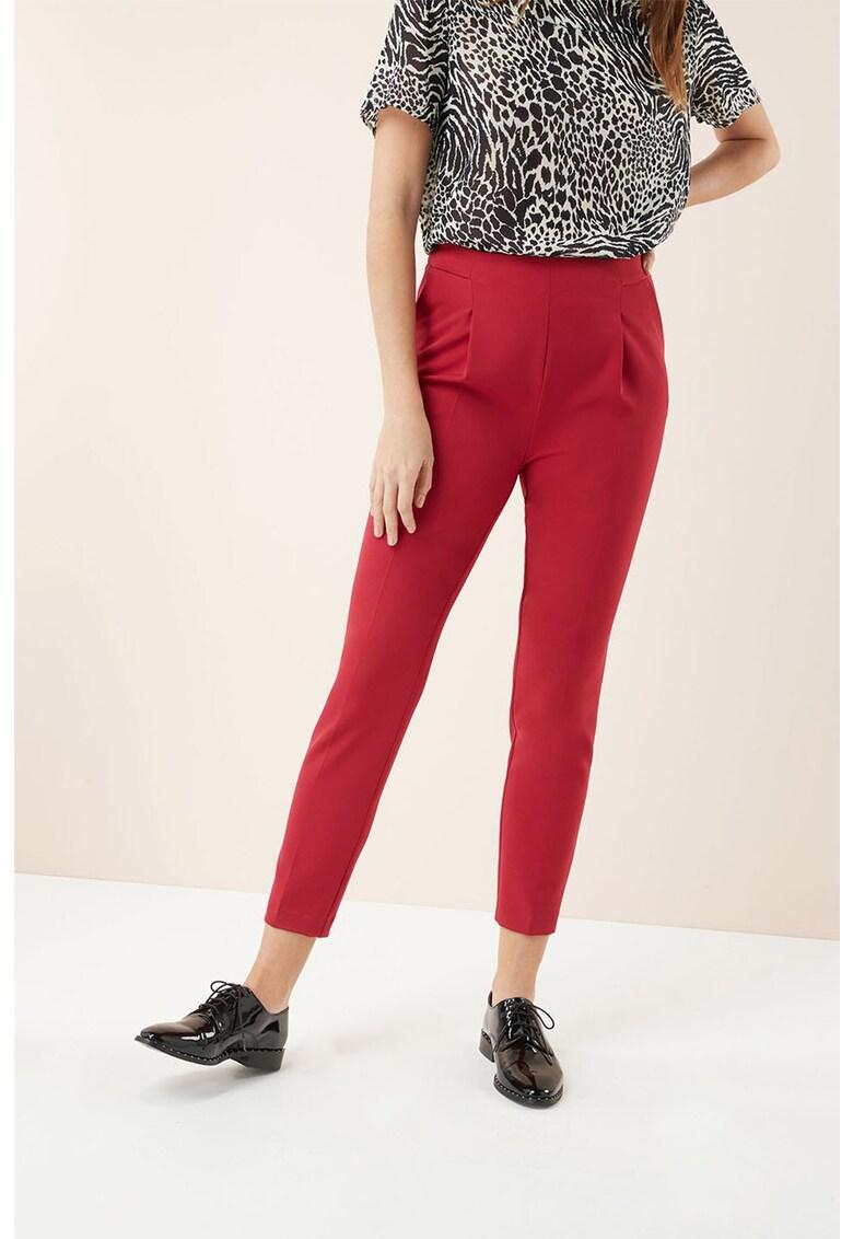 Pantaloni conici cu talie inalta si pensa