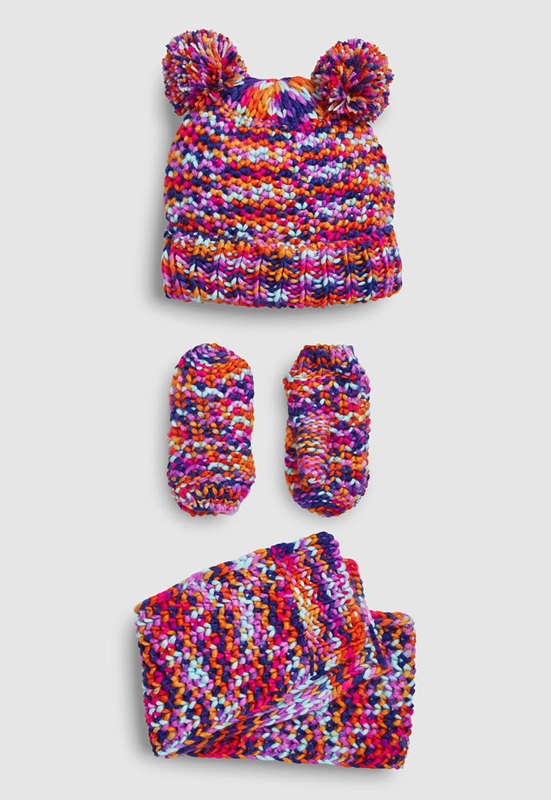 Set de manusi - caciula si fular din tricot gros