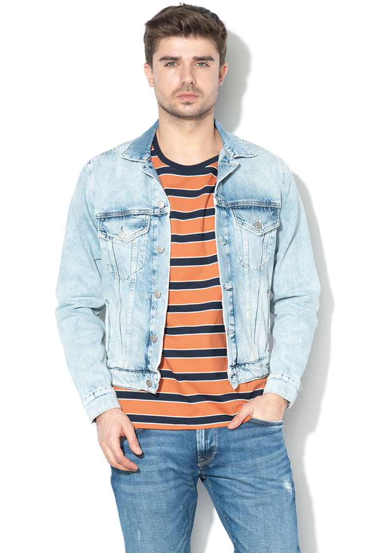 Jacheta din denim cu aspect decolorat Pinner de la Pepe Jeans London