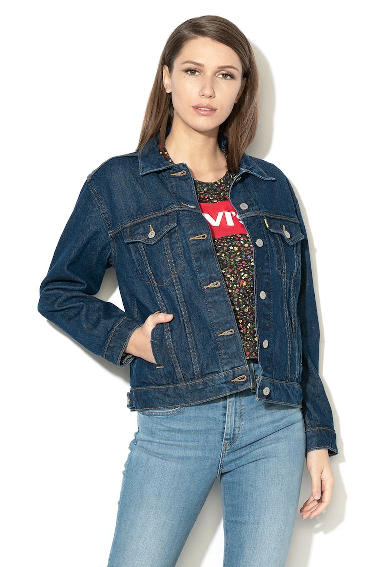 Jacheta din denim cu buzunare pe piept