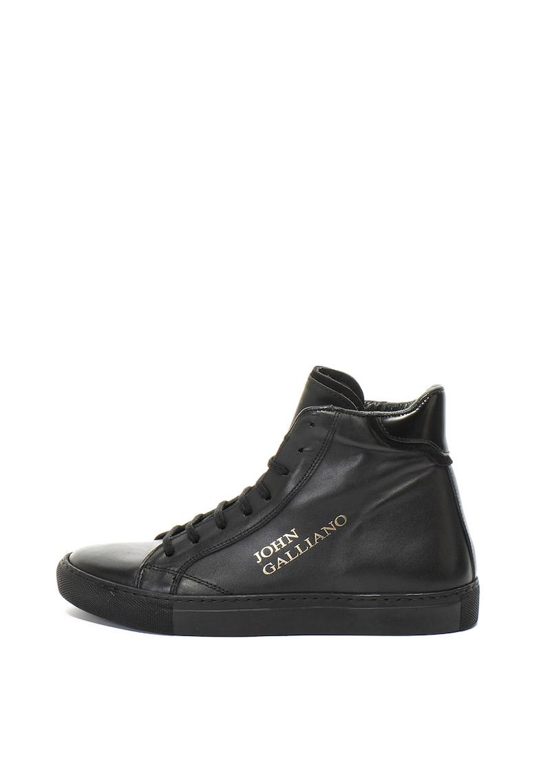 Pantofi sport inalti – de piele – cu imprimeu logo John Galliano
