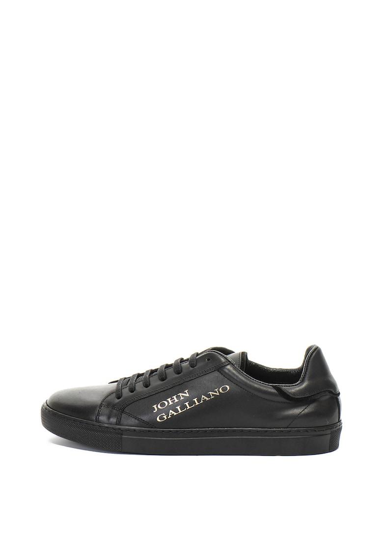 Pantofi sport de piele cu imprimeu logo John Galliano