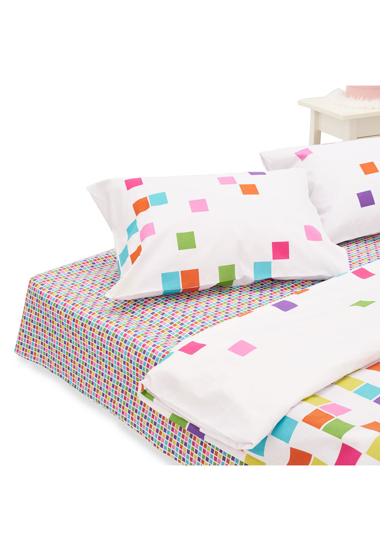 Heinner Home Lenjerie de pat pentru 2 persoane  100% bumbac - 4 piese - 144TC- Tetris
