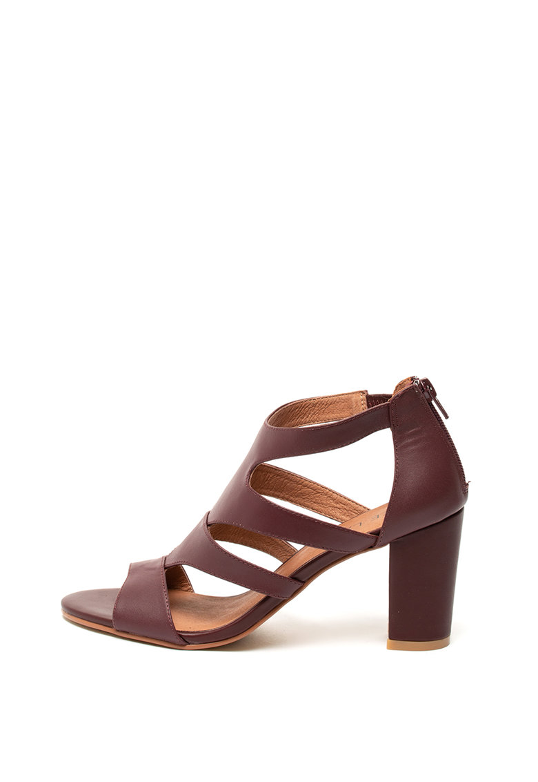 Sandale de piele - cu toc masiv