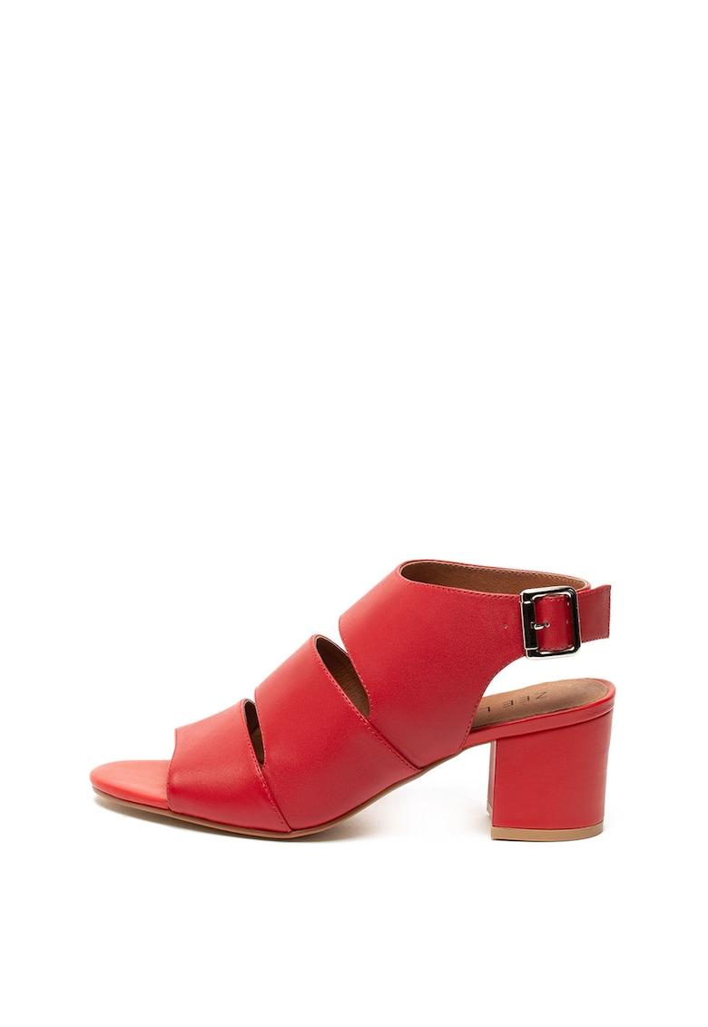 Sandale slingback de piele - cu toc masiv