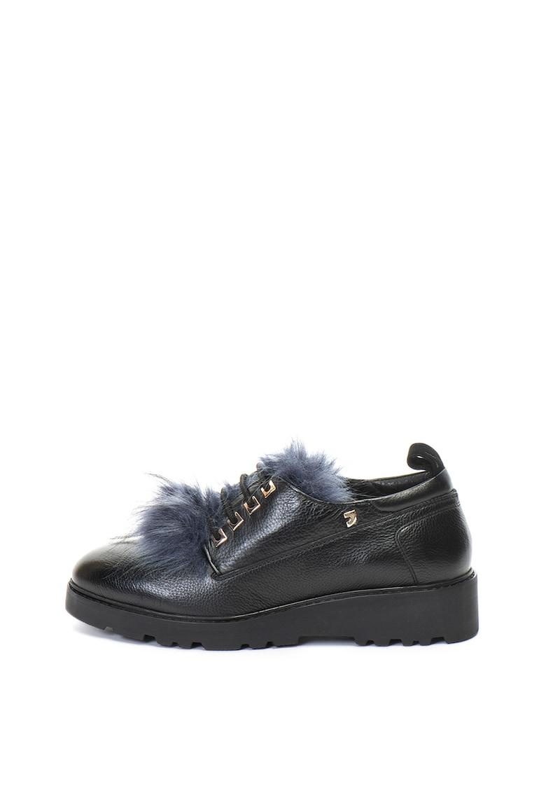 Pantofi de piele cu garnituri de blana sintetica
