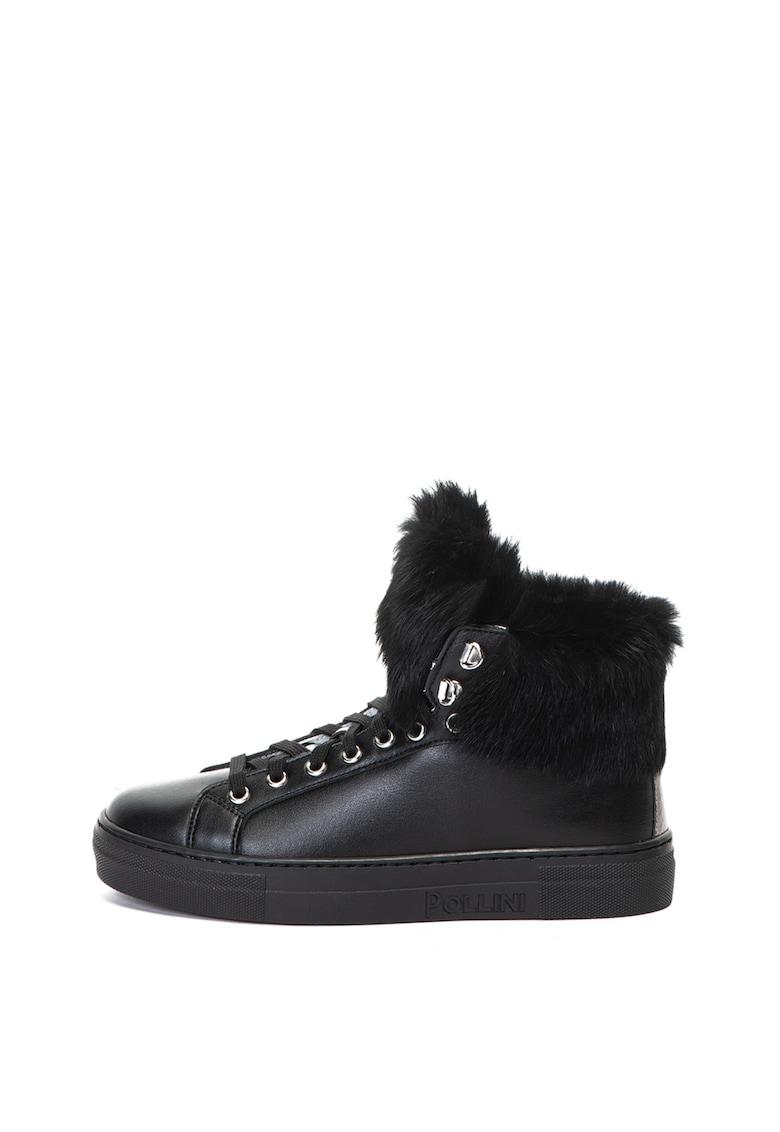 Pantofi sport high top -de piele ecologica cu garnituri de blana naturala