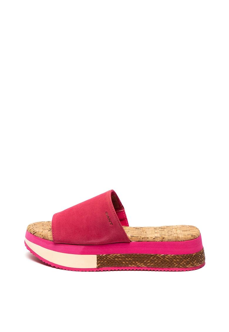 Papuci flatform de piele intoarsa Sant Ana