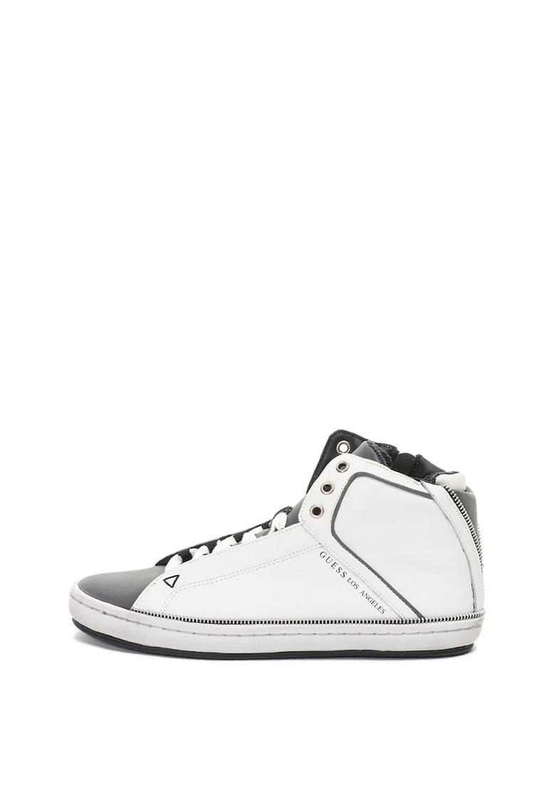 Pantofi sport de piele - mid-high cu detalii cu fermoar decorativ