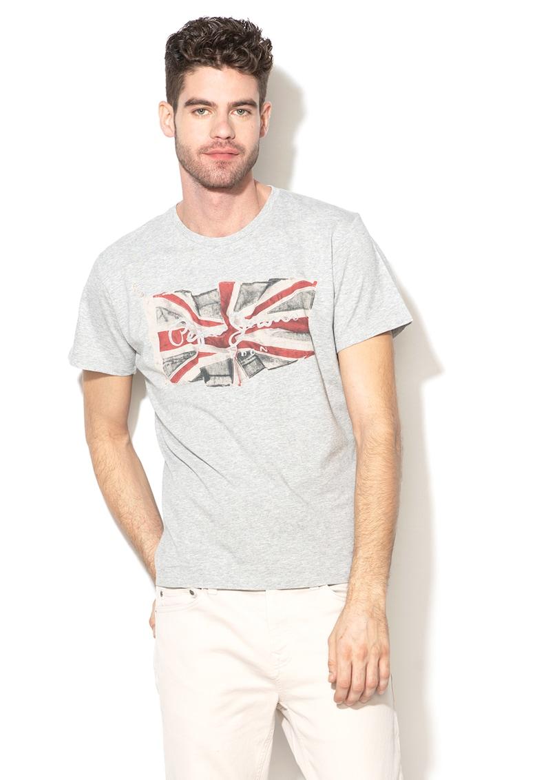 Tricou cu decolteu la baza gatului si imprimeu logo 32