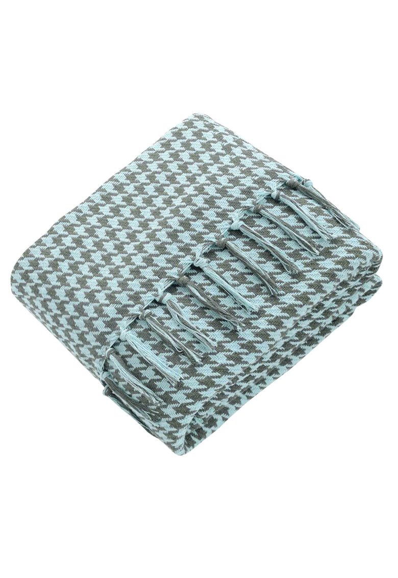 Patura Throw Cozy cu ciucuri Home Stil - 80% bumbac - 20% PES - 200x230 cm - model retro de impletitura