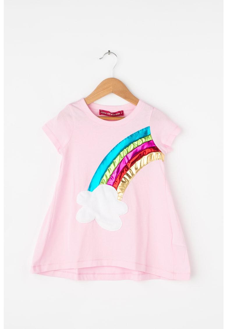 Rochie cu croiala in A si aplicatie decorativa Rainbow