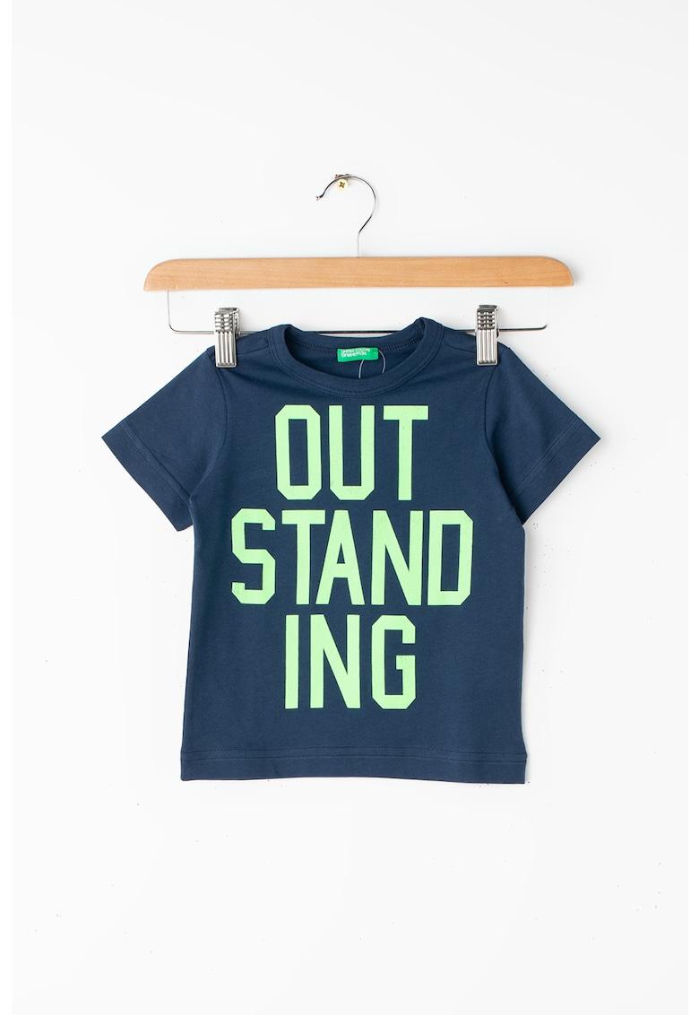 Tricou din bumbac organic - cu imprimeu contrastant cu text