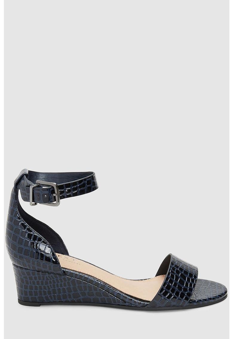 Sandale wedge cu aspect de piele de crocodil