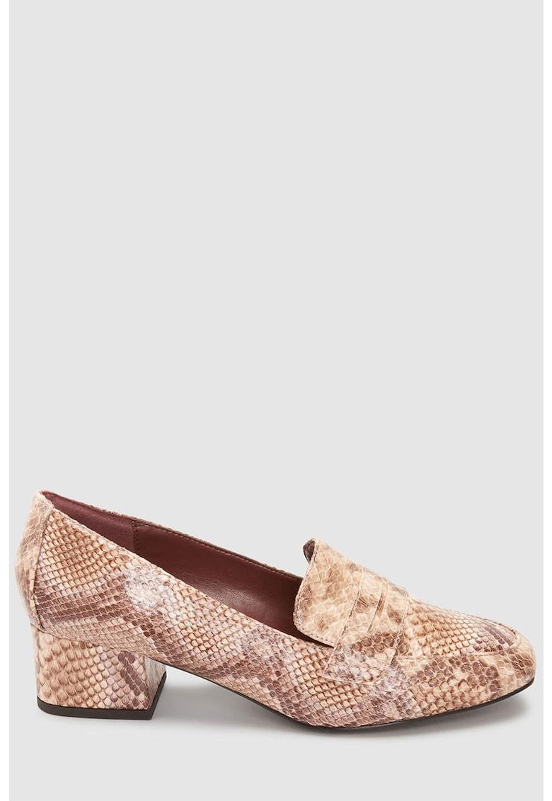 Pantofi loafer de piele ecologica cu model reptila de la NEXT