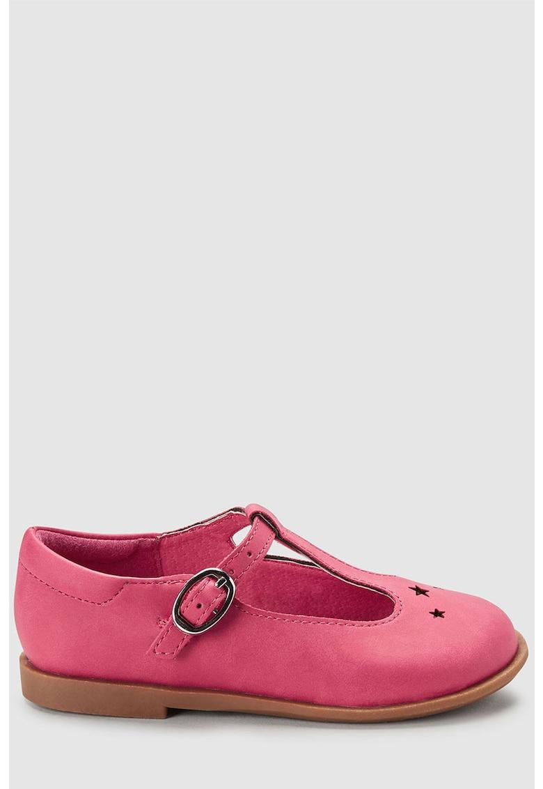 Pantofi de piele ecologica - cu bareta in forma de T