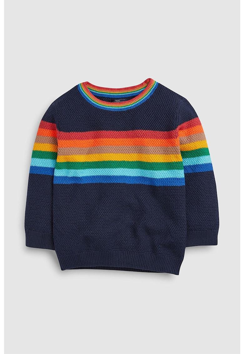 Pulover din tricot cu decolteu la baza gatului si dungi de la NEXT