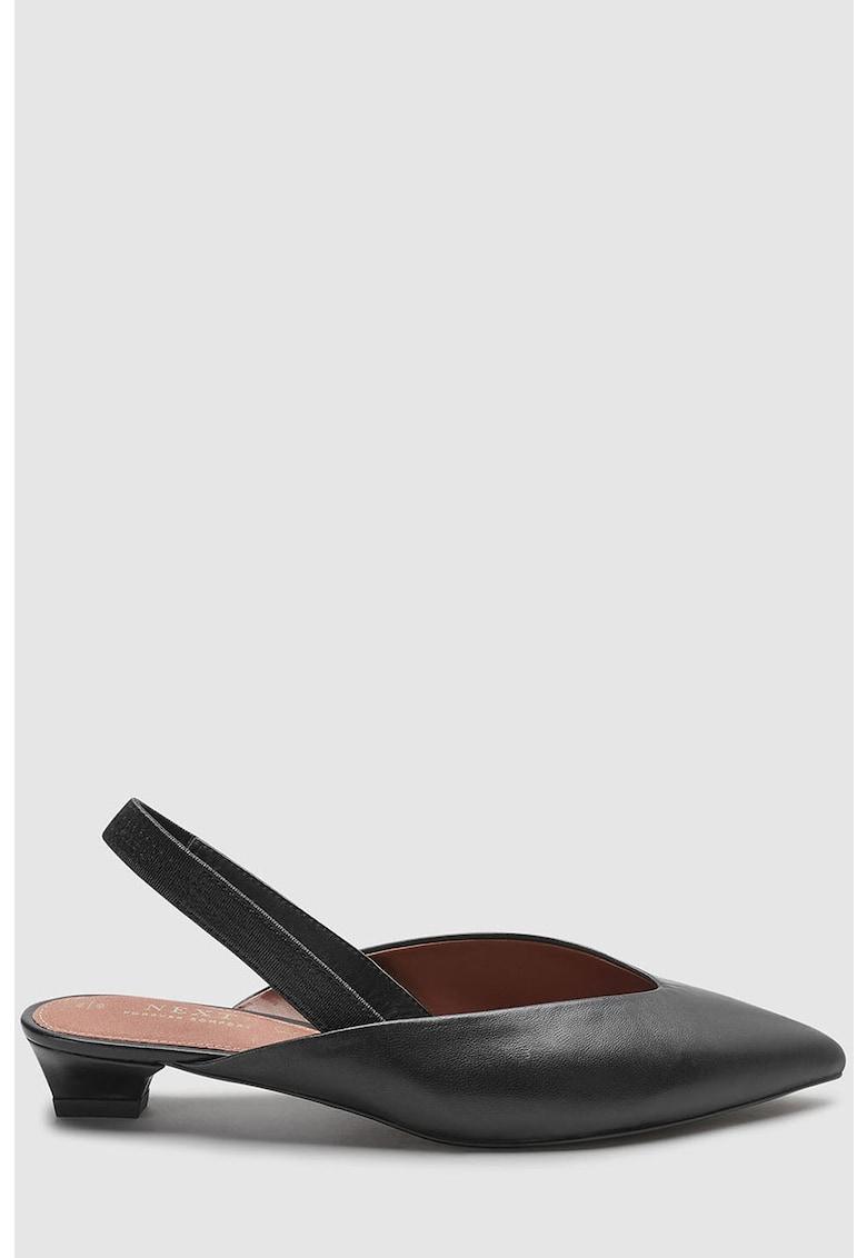 Pantofi slingback de piele - cu varf ascutit