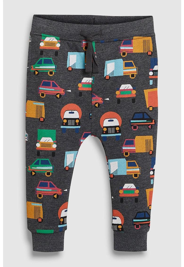 Pantaloni sport baggy cu imprimeu cu masini
