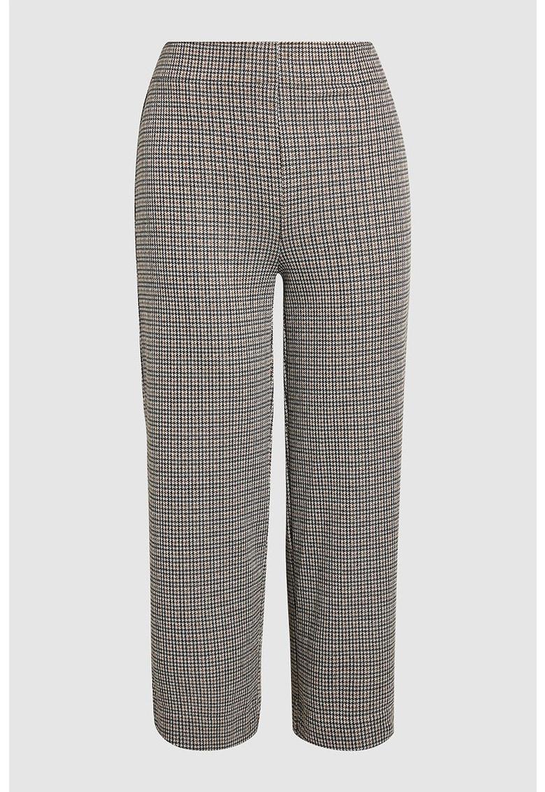 Pantaloni culotte cu model houndstooth