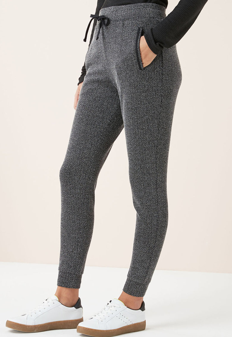 Pantaloni jogger cu model herringbone