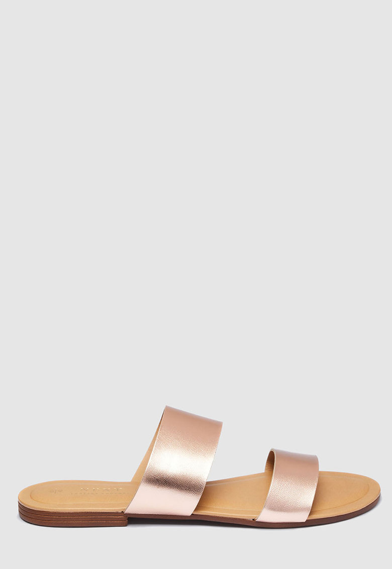 Papuci de piele cu aspect metalizat NEXT