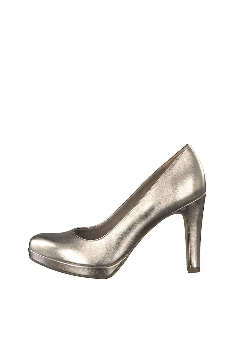 Pantofi cu aspect metalizat si toc clasic