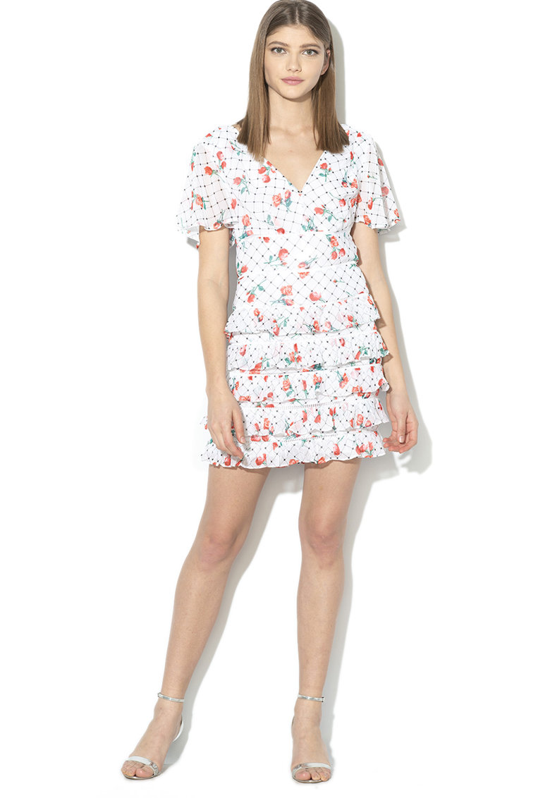 Rochie mini cu model floral si volane