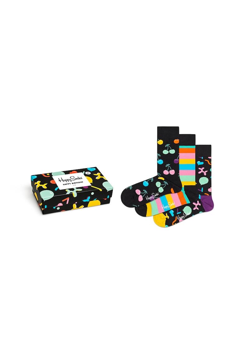 Set de sosete unisex cu imprimeu – 3 perechi Happy Socks