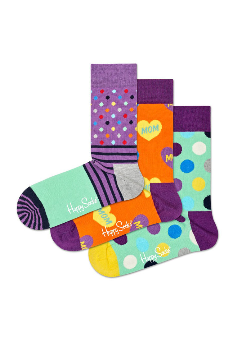 Set de sosete scurte unisex cu diverse imprimeuri – 3 perechi Happy Socks