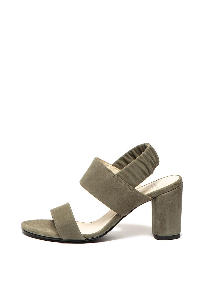 Sandale de piele intoarsa cu toc masiv Penny de la Vagabond Shoemakers