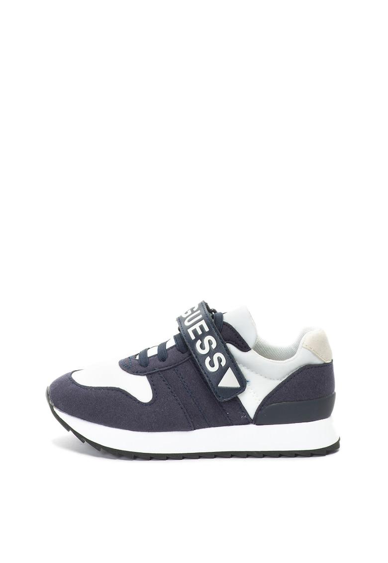 Pantofi sport de piele intoarsa ecologica cu sireturi elastice de la Guess