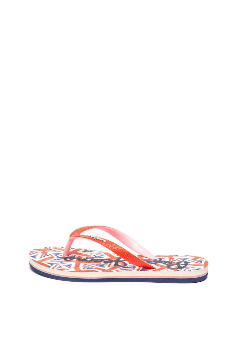 Papuci flip-flop cu logo pe talpa interioara