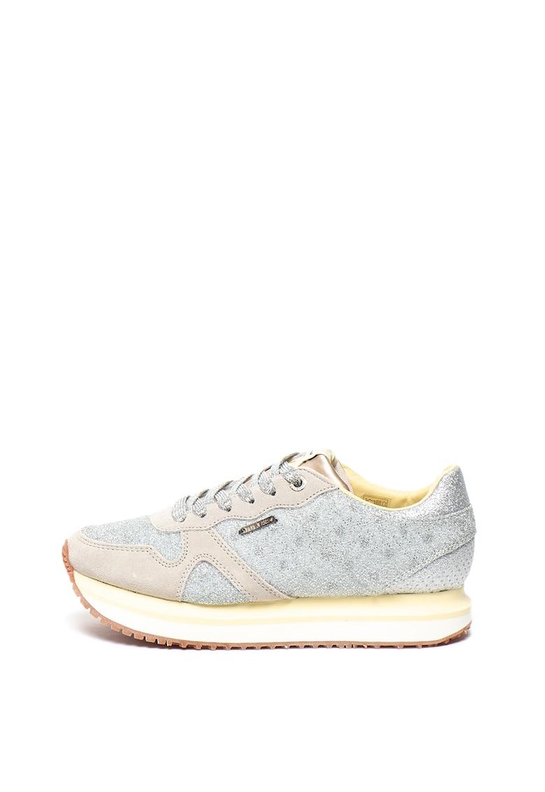 Pantofi sport cu particule stralucitoare si insertii de piele intoarsa Zion Remake