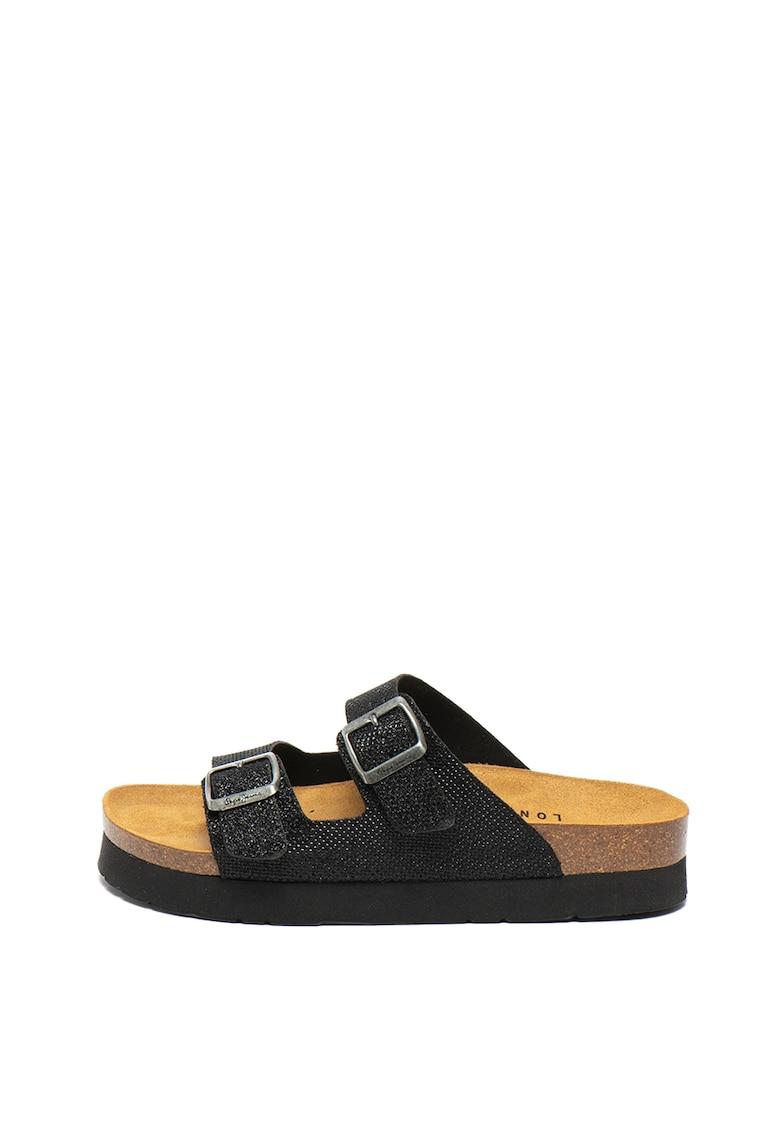 Papuci cu aspect stralucitor si catarame Oban