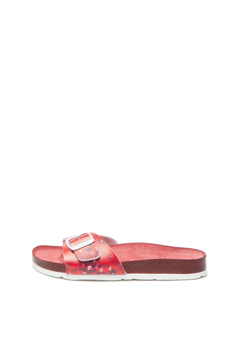 Papuci de piele ecologica cu model floral Oban Virgi Pepe Jeans London